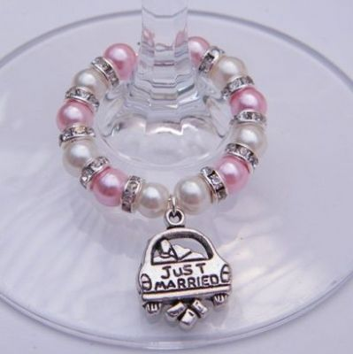 Just Married Wine Glass Charm - Full Sparkle Style